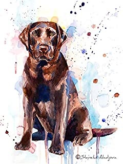 Chocolate Labrador Watercolor Painting Print 8x10 inches, artist Slaveika Aladjova