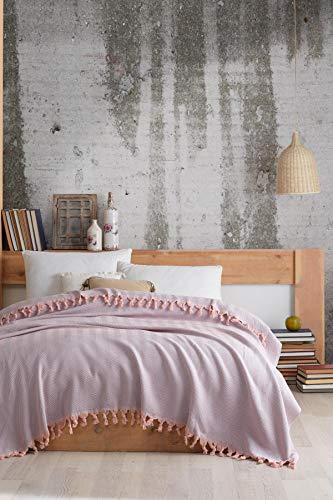 VAROL Colcha, Ropa de Cama turca, Manta de sofá, Manta de Cama, Manta de algodón Ligera turca 200 cm x 230 cm (Rosa)