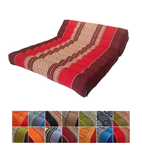 Collumino Traditional Thai Kapok Folding Meditation Seat Cushion for Yoga or Relaxation (Red, Maroon)