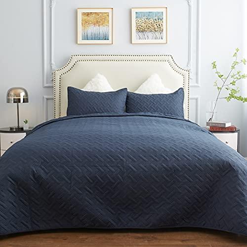 3-teiliges Bettwäsche-Set für Doppelbett / Queen-Size-Bett, Tagesdecken-Set, wendbarer Bettdeckenbezug, Mikrofaserkorbmuster, leichtes Bettwäsche-Set für alle Jahreszeiten, 2 Kissenbezüge, Marineblau