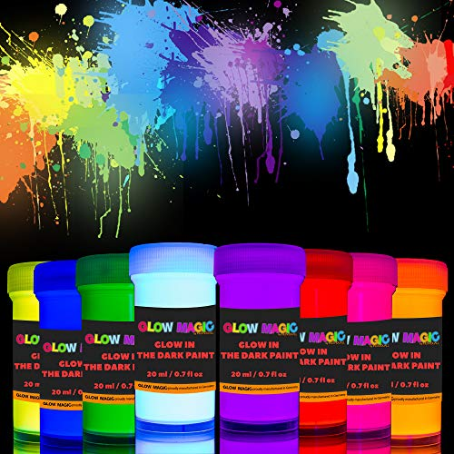 individuall Glow Magic Glow in The Dark Acrylic Paint Set – 8 x 0.7 fl oz - Self-Luminous Paint - Phosphorescent Glowing Neon Paint Set