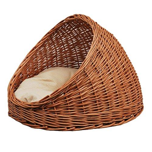 2-9-18 Katzenhöhle / Katzenkorb aus Korbweide mit Kissen - 4