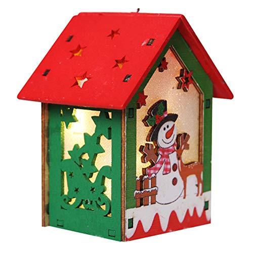 Cutogain Leuchtende Bunte holzhaus weihnachtsschmuck hängen Ornament anhänger DIY Weihnachtsbaum dekor
