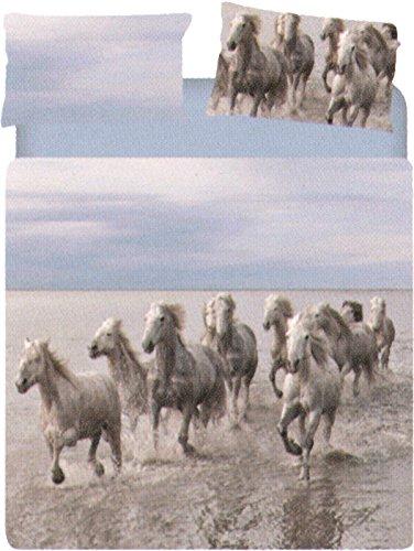 Copripiumino WILD HORSE matrimoniale CAleffi collezione CARMASSI MARCO (1 sacco 255x200 + pattella + 2 federe cm.50x80 + 1 sotto lenzuolo con angolo tinta unita cm.180x20