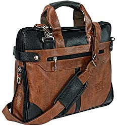 Storite PU Leather 14 inch Laptop Shoulder Messenger Sling Office Bag for Men & Women – (40 x 29 x 6 cm, Black/Brown),SaiTech IT Pvt Ltd.,Leather Laptop Bag 16 inch - Light Brown