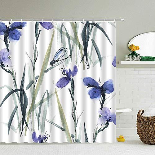 XCBN Blumen Grüne Pflanzen 3D Duschvorhänge Badvorhang Mit Haken Wasserdicht Dekoration Stoff Bad Bildschirm A4 150x180cm