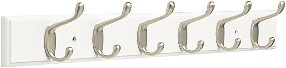 """Franklin Brass FBHDCH6-WSE-R, 27"""" Hook Rail / Rack, with 6 Heavy Duty Coat and Hat Hooks, in White & Satin Nickel"""