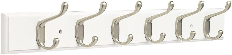 """Franklin Brass FBHDCH6-WSE-R, perchero de 27 pulgadas, con 6 ganchos resistentes para abrigos y sombreros, en color blanco y níquel satinado, Riel de gancho 27"""", 27"""" Hook Rail / Rack, blanco & níquel satinado"""