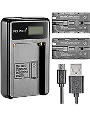 Neewer® Cargador de batería Micro USB + 2 baterías de Repuesto de 2600 mAh NP-F550/570/530 para Sony HandyCams, Neewer Nanguang CN-160, CN-216, CN-126 LED Light, Polaroid On-Camera Video Lights