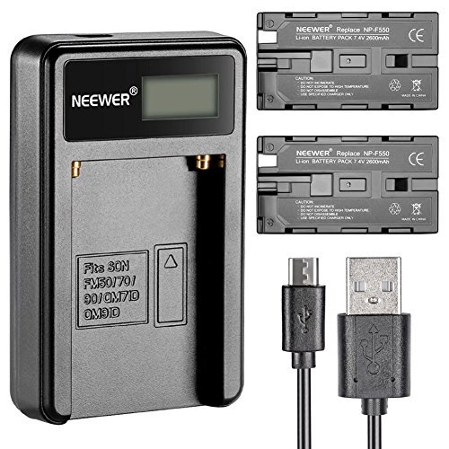 Neewer® Cargador de batería Micro USB + 2 baterías de Repuesto de 2600 mAh NP-F550/570/530 para Sony HandyCams, Neewer Nanguang CN-160, CN-216, CN-126 LED Light, Polaroid On-Camera Video Lights
