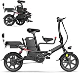 Fangfang Bicicletas Eléctricas, 14' Bicicleta Plegable eléctrico for Adultos, 400W Bicicleta eléctrica, conmuta E-Bici, batería de Litio extraíble de 48 V, Negro, 8AH,Bicicleta