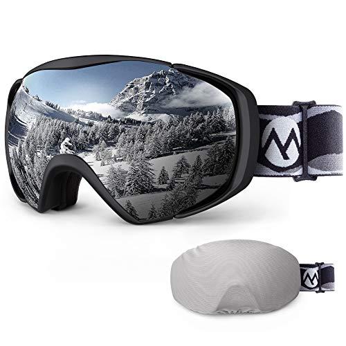 Ski Goggles with Cover Snowboard Goggles OTG Anti-Fog for Men Women - VLT 9.4%
