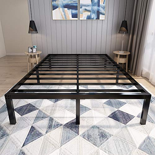 45MinST 18 Inch Platform Bed Frame/Easy Assembly Mattress Foundation / 3000lbs Heavy Duty Steel Slat/Noise Free/No Box Spring Needed,Queen