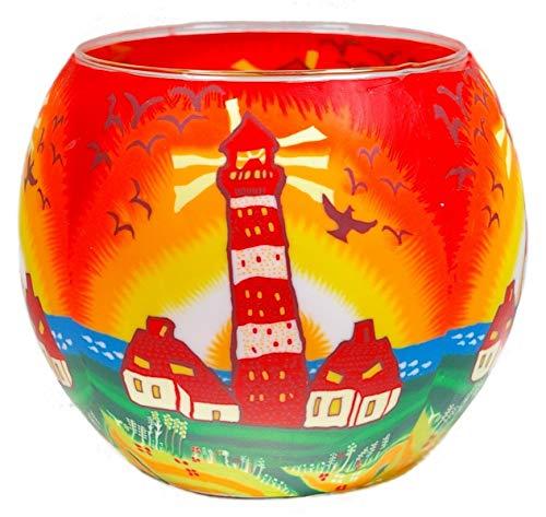 Himmlische Düfte Geschenkartikel GmbH Lighthouse IV Windlicht, Glas, Bunt, 11 x 11 x 9 cm