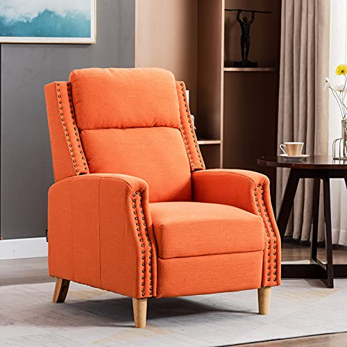 Artechworks Recliner Armchairs Linen Fabric Push Back Reclining Sofa Chair,Adjustable Accent Lounge Chair with Expandable Footrest,Wooden Legs,Comfy for Adults,Living Room,Bedroom,Office,Orange