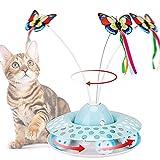 SHUANGJUN Mariposa Juguete Gatos, Juguete Interactivo para Gatos, Juguetes para Gatos con Eléctrica Mariposa Giratoria de 360°y Bola de Juguete, para Gatos de Interior, Gatitos Jugando (Verde A)