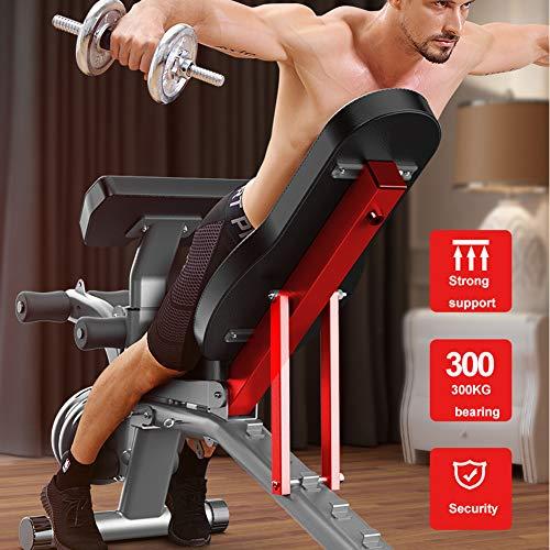 IJNUHB Fitnessbank Schrägbank Hantelbank Klappbar Verstellbar Multifunktionale Trainingsbank 6-Fach Verstellbarer Rückenlehne Profi Rückentrainer Geräte