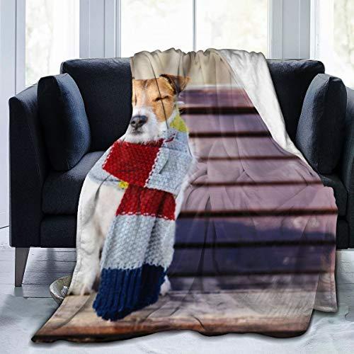 Generic Happy Dog mit kuscheligem, warmem Schal Ultraweiche Fleecedecke Superweicher, fusseliger, Leichter, hypoallergener Plüsch 60