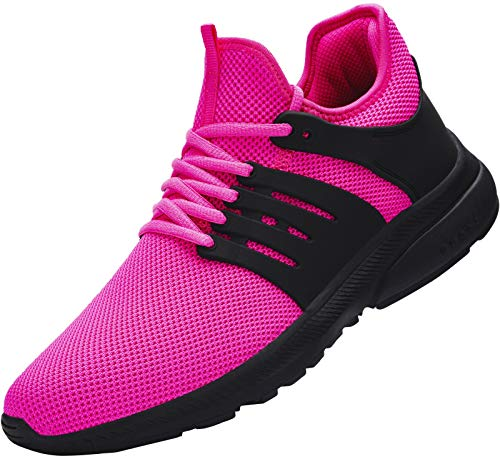 DYKHMILY Sicherheitsschuhe Damen Wasserdicht Ultraleicht Stahlkappenschuhe Atmungsaktiv Arbeitsschuhe Sportlich rutschfest Sicherheitssneaker (Pfau Pink,39 EU)
