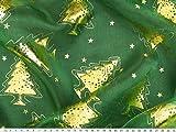 ab 1m: Weihnachtsstoff Organza, Foliendruck, Tannen,
