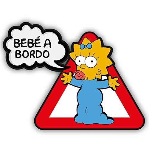CUAC REVOLUTION Pegatina Bebe A Bordo Maggie Vinilo Impreso para Coche los Simpsons Pegado Exterior