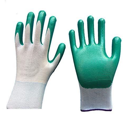 Preisvergleich Produktbild RIsxffp Gartenhandschuhe,  rutschfest,  mit Beschichtung (12 Paar) grün