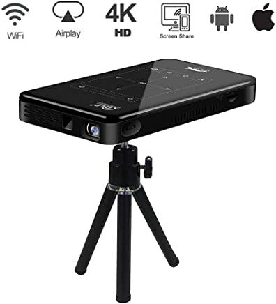 $259 Get Hypeteck 4K HD Mini Projector Android OS Smart Portable Wi-Fi Bluetooth Touch Pad Video Projector HDMI USB TF Card CPU S905X Home Office Cinema Laptop iPhone 4000mAh