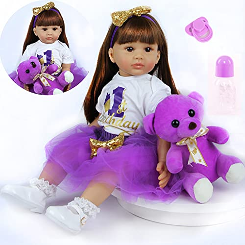 ZIYIUI 24 pollici Reborn Baby Dolls Soft Vinyl Simulazione in silicone 60cm Reborn Babies Realistici Girl Boy Toys Giocattoli regalo di Natale Indossa un vestito viola