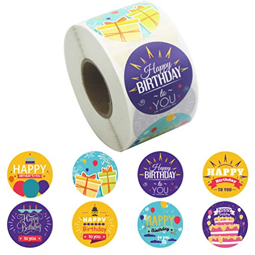 PRETYZOOM 1 Roll Seal Sticker Self- adhesive Gift Wrapping Sticker Creative Sticker Simple Gift Sealing Sticker for Birthday Gift DIY Envelope (500pcs for One Roll 8 Kinds of Patterns)