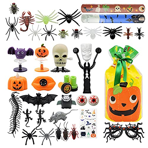 Juego de regalo de fiesta de Halloween, 61 piezas de regalo de fiesta de Halloween, bolsas de Halloween para regalos de fiesta de niños, intercambio, premios de carnaval