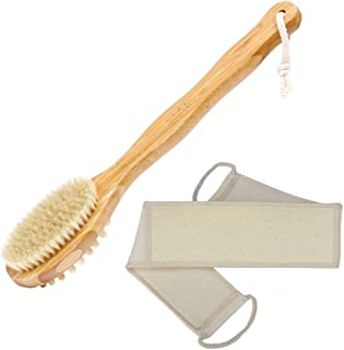Dry Brushing Body Brush Long Handled Exfoliating Brush, with Loofah Back Scrubber for Shower for Men and Women, Smooth and...