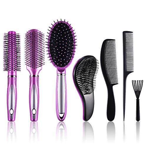 SIQUK 7 Piezas Cepillos para el Pelo Cepillos para Desenredar Cepillos Pelo Redondos y Limpiador de Cepillo de Pelo para Mujer y Hombre