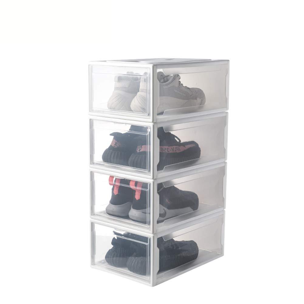 ALXDR Caja De Zapatos Grande Caja De Almacenamiento De Zapatos De Plástico Transparente Frente, Plegable Y Apilable Caja Organizadora De Zapatillas De Hombre,White,4packs: Amazon.es: Hogar