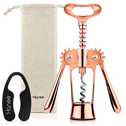 Sponsored Ad - Hanee Premium Wing Corkscrew (Rose Gold) with Foil Cutter and Pouch [2021 Upgraded] | Wine Opener & Beer Bo...