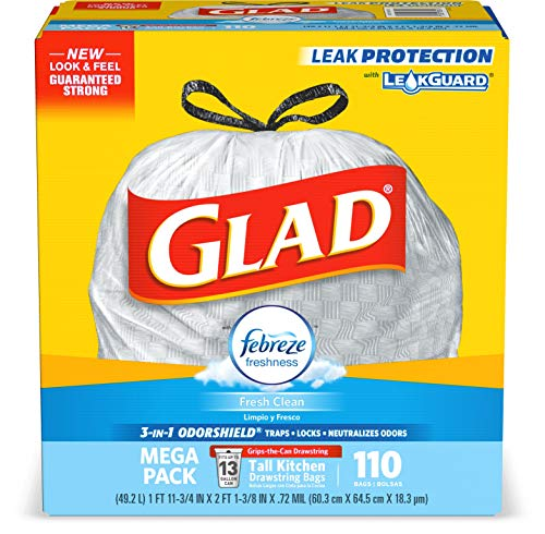 Glad Tall Kitchen Drawstring Trash Bags - OdorShield 13 Gallon White Trash Bag, Febreze Fresh Clean (Packaging May Vary)