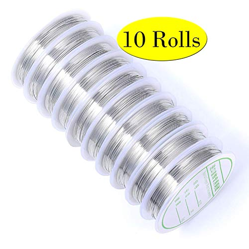 44 Yards 10 Rolls Silver Tone Thin Jewelry Wire Rolls Bulk 21 Gauge Metal Crafting Artistic Wire Bulk for Jewelry Making & Craft