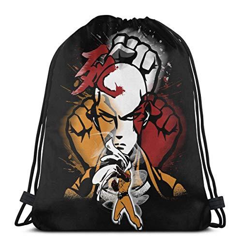 WH-CLA Cinch Bags Death Punch Man Hero Saitama Mujeres Anime Moda Regalos De Cumpleaños Hombres Ligeros Al Aire Libre Deporte Único Mochila con Cordón Yoga Gimnasio Bolsos con Cordón ESP