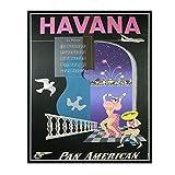IUYTRF Mapa Panamericano de La Habana Póster de viaje vintage Clásico Retro Kraft Lienzo Mapas Etiqueta de la pared Barra de inicio -50X70 cm Sin marco 1 Uds