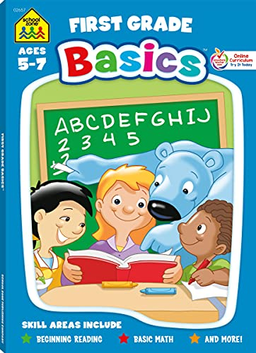School Zone - First Grade Basics Workbook - 96 Pages, Ages 5 and Up, 1st Grade, Phonics, Vowels, Beginning Reading, Math, Telling Time, Money, and More (School Zone Basics Workbook Series)