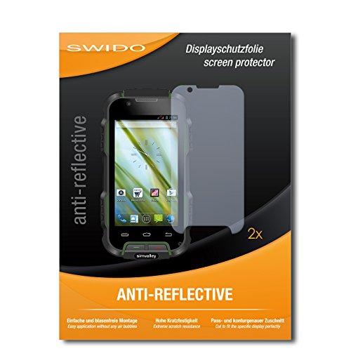 SWIDO Schutzfolie für Simvalley Mobile SPT-900 V2 [2 Stück] Anti-Reflex MATT Entspiegelnd, Hoher Festigkeitgrad, Schutz vor Kratzer/Bildschirmschutz, Bildschirmschutzfolie, Panzerglas-Folie