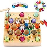 魚釣りおもちゃ 木製 お釣りゲーム 知育玩具 釣り竿教育 キッズ 木製玩具 幼児 磁石のおもちゃ プレゼント 誕生日 入園祝い クリスマスプレゼント 新年プレゼント 出産祝い