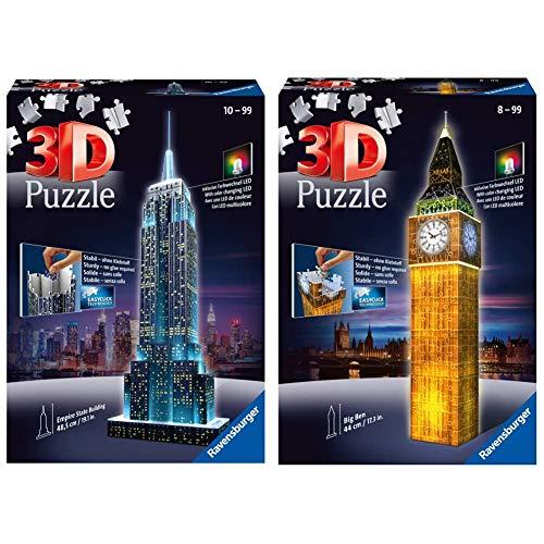 Ravensburger Puzzle 3D Empire State Building-Edizione Speciale Notte, 216 Pezzi, Colore Nero, 12566 1 & Ravensburger-12588 Big Ben Puzzle 3D Edizione Speciale Notte, 216 Pezzi, 12 588 3