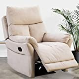 IOMOR Manual Fabric Recliner Chair, Soft Reclining Chair for Living Room Modern Sofa with Overstuffed Armrest and Back (Beige)