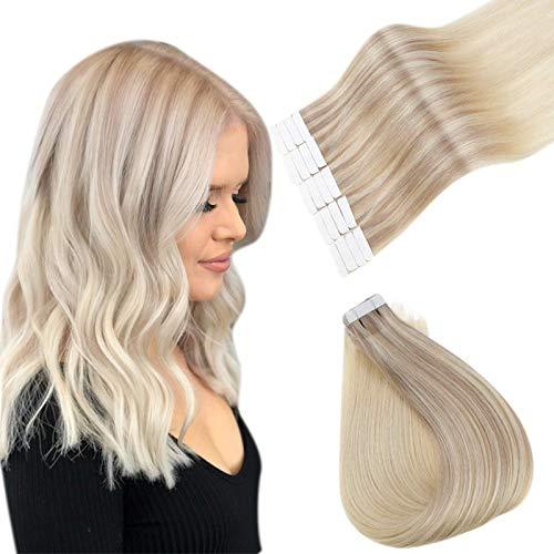 Easyouth Remy Haarband auf nahtlosem Menschenhaar Farbe Aschblond Mix Mittelblond und Platinblond 16 Zoll 40g Klebeband in Remy Haar