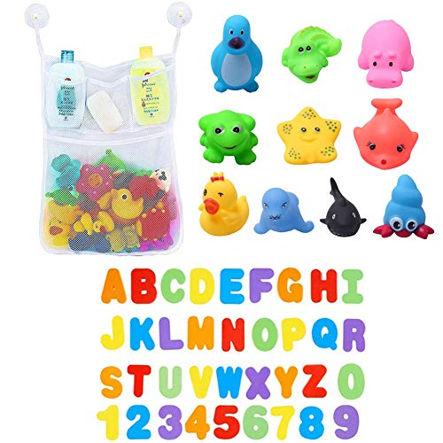 Juguetes para el Baño-Letras y Números+Juguetes de Sonido Toy Diverdidos Lindos para Agua Piscina Baño,Goma Flotante Floating Baby Bath Toys con baño Sucker Mesh Bolsa de Almacenamiento para bebés