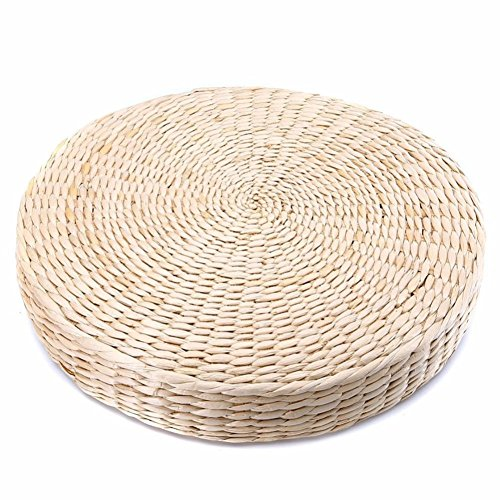 Japanese Tatami Floor Pillow,Natural Seat Pad,Woven Straw Cushion Round Pouf Yoga Seat Pillow Knitted Floor Mat for Garden Dining Room Decoration (2pcs)