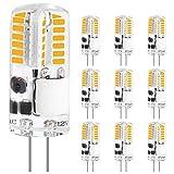 LEDGLE Lampadie LED G4 3W, 20LEDs sostituisce lampade alogene da 30W, lampadine AC/DC 12V, bianco caldo 2700K, 350LM senza sfarfallio, lampadina LED G4, 10 pezzi