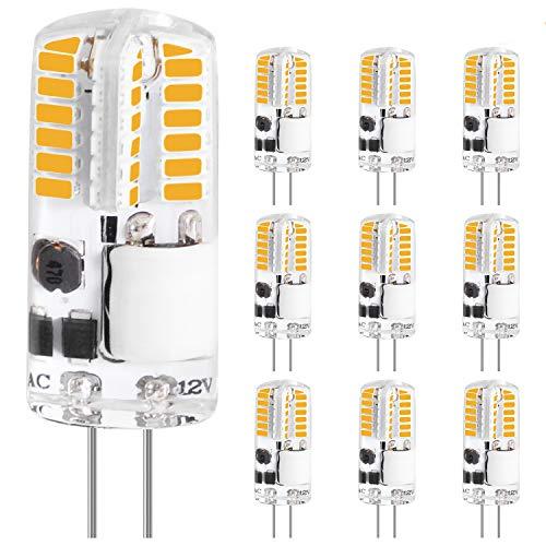 LEDGLE G4 LED Lampe 3W 250LM, Warmweiß 2700K 48 * 3014 LEDs ersetzt 30W Halogenlampe, Kein Flackern, 360° Abstrahlwinkel 12V AC/DC, Nicht Dimmbar Leuchtmittel Birnen Glühbirne, 10er Pack
