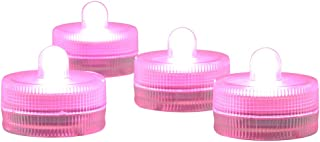 Submersible LED Light Wedding Centerpieces CR2032 Batteries Operated 3CM Decorative Lights Tea Lights Waterproof Base for Wedding Party Holiday Christmas Decor,10-Pack (Pink)