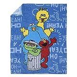 Sesame Street Elmo, Big Bird, Cookie Monster, & Oscar The Grouch Blue, Red, Green, & Yellow Super Soft Toddler Blanket, Blue, Red, Yellow, Green